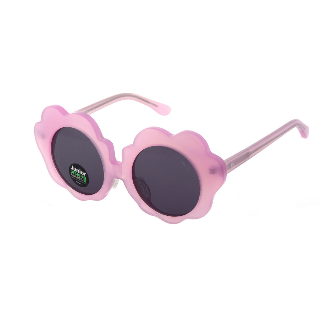 Solid pink daisy shaped frame with grey lens. Polarized lenses, handmade acetate frame