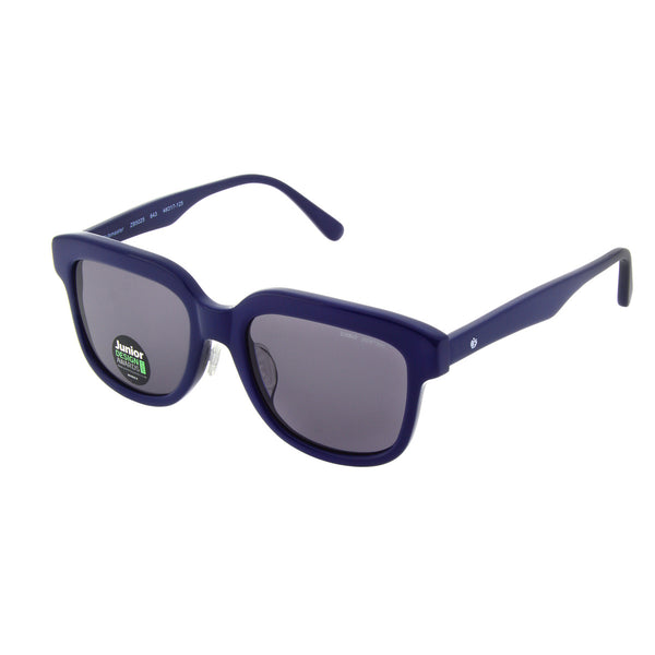 Solid navy acetate frame sunglasses with grey polarised lens. Handmade acetate frame, plug-in silicon nose pads