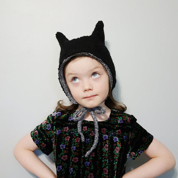 Winter Eared Hat, Black Wool