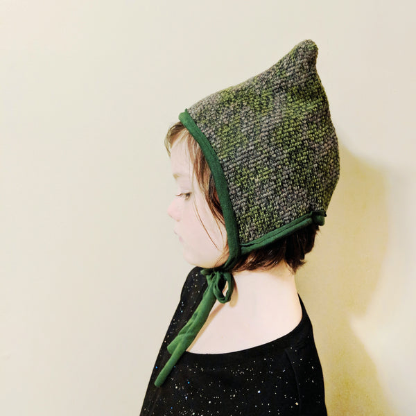 Green+Grey Wool Eared Hat
