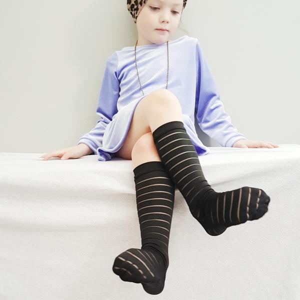 Sheer Striped Socks, Black or White