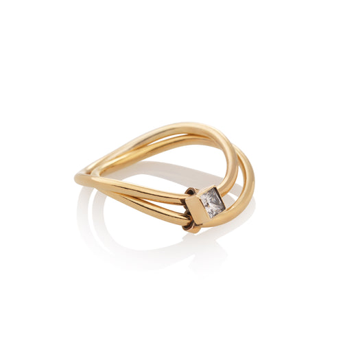 Interlock Diamond Wave Ring