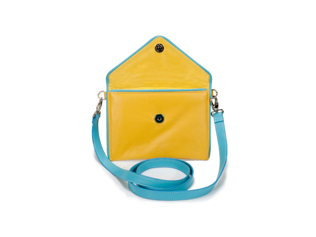 PRE ORDER ONLY-SMALL ENVELOPE BAG YELLOW/AQUA