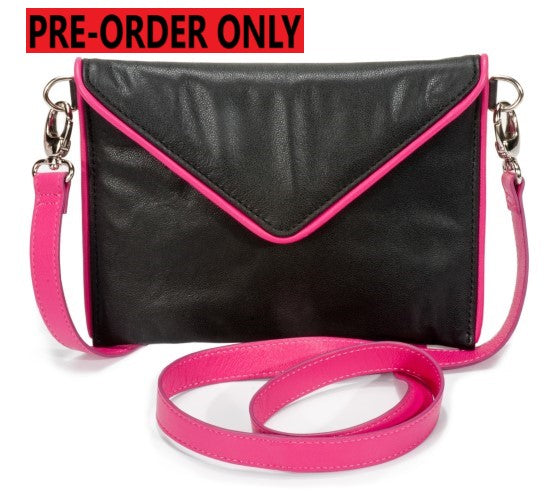 PRE ORDER ONLY-SMALL ENVELOPE BAG-BLACK/FUCHSIA