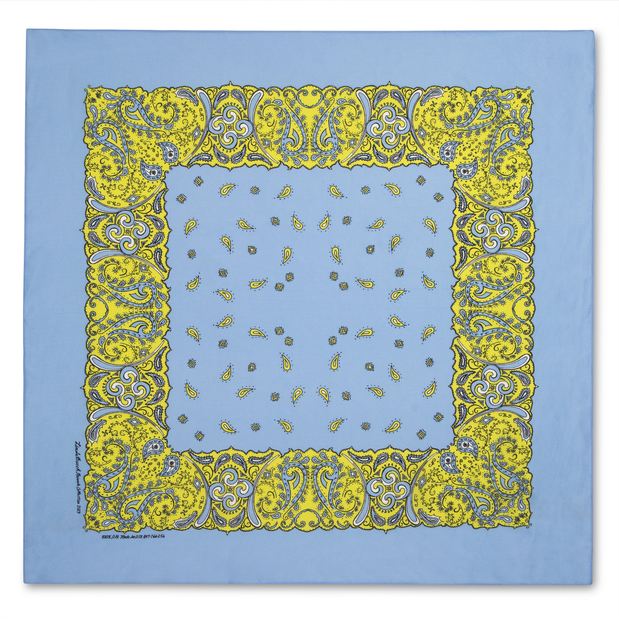 SAMPLE SALE-Silk Bandanna in Cornflower Blue, Sulfur Spring, Black and White