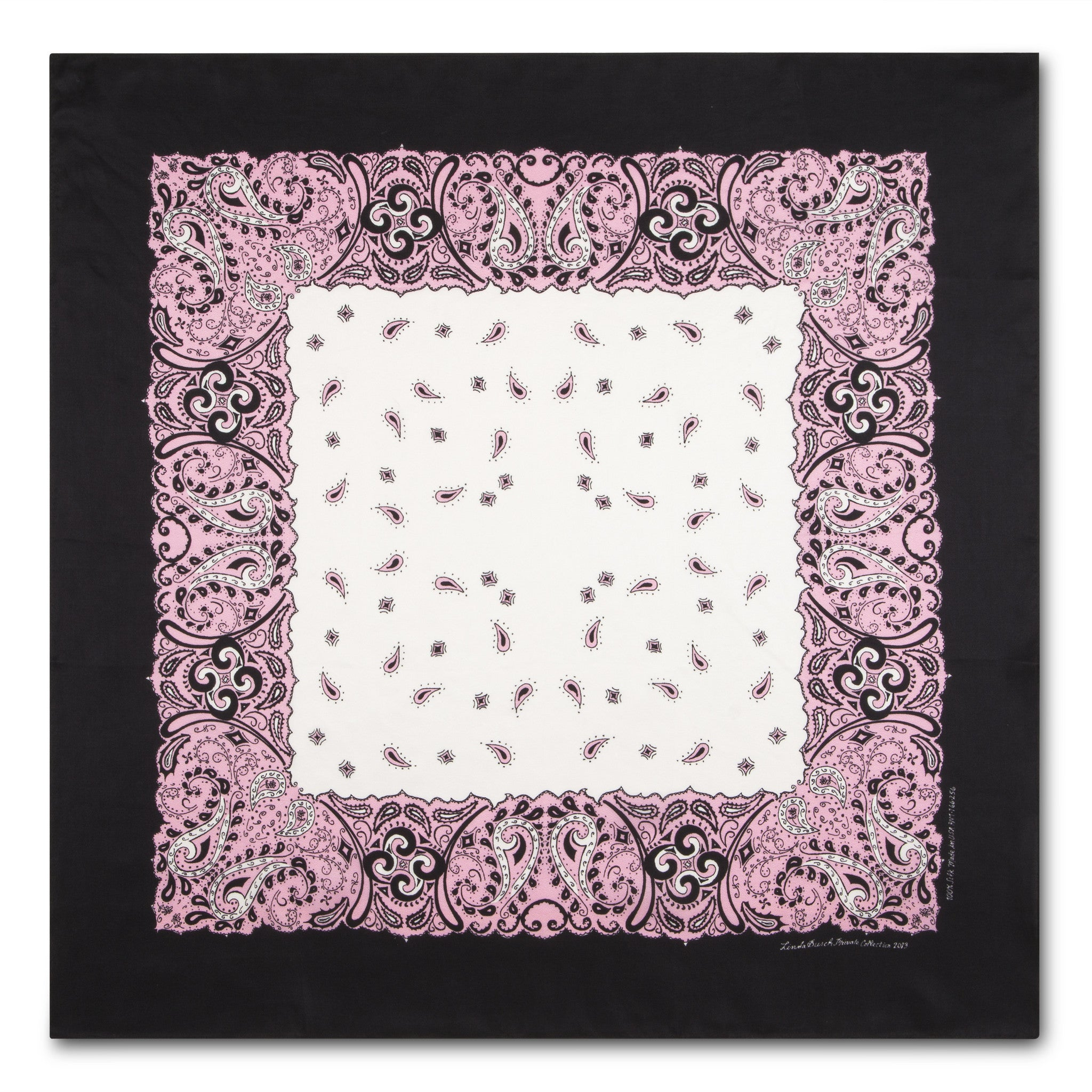 Silk Bandanna in Pink, White, Black