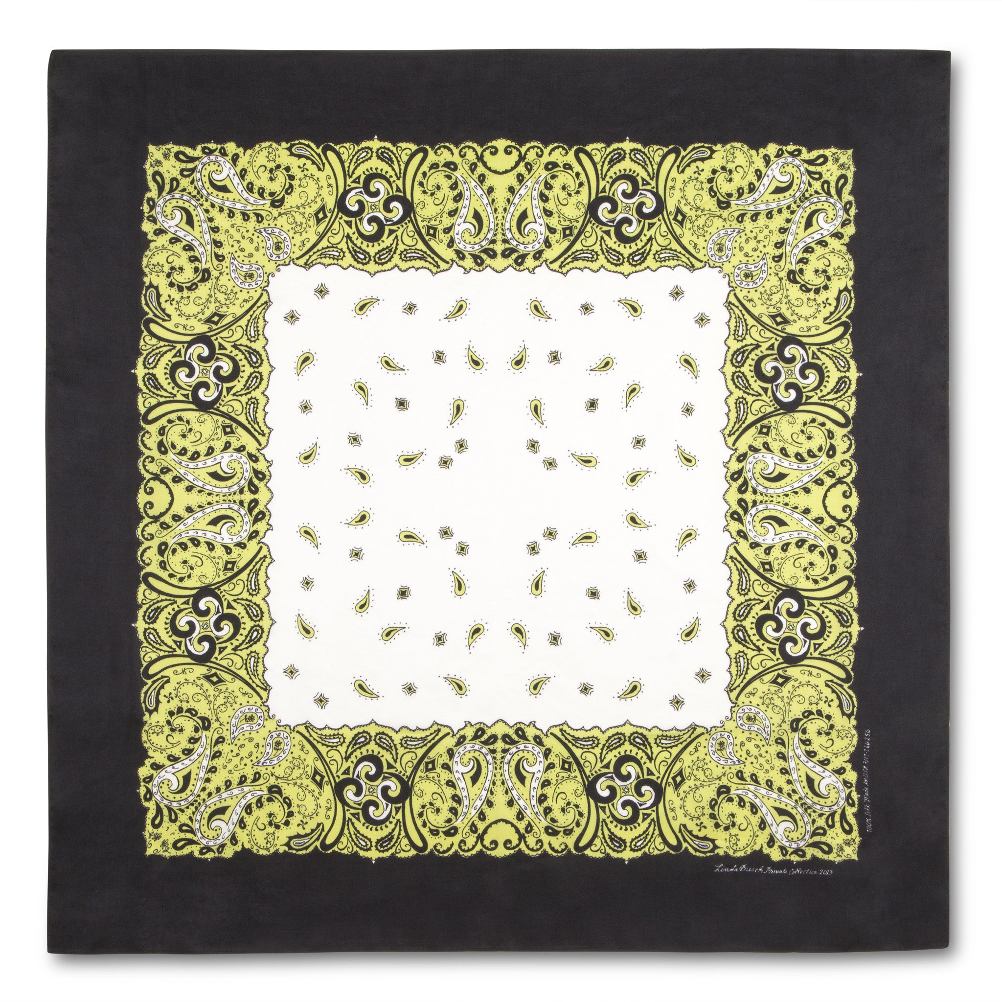 CLEARANCE SALE-Silk Bandanna in Lime Green, Black, White