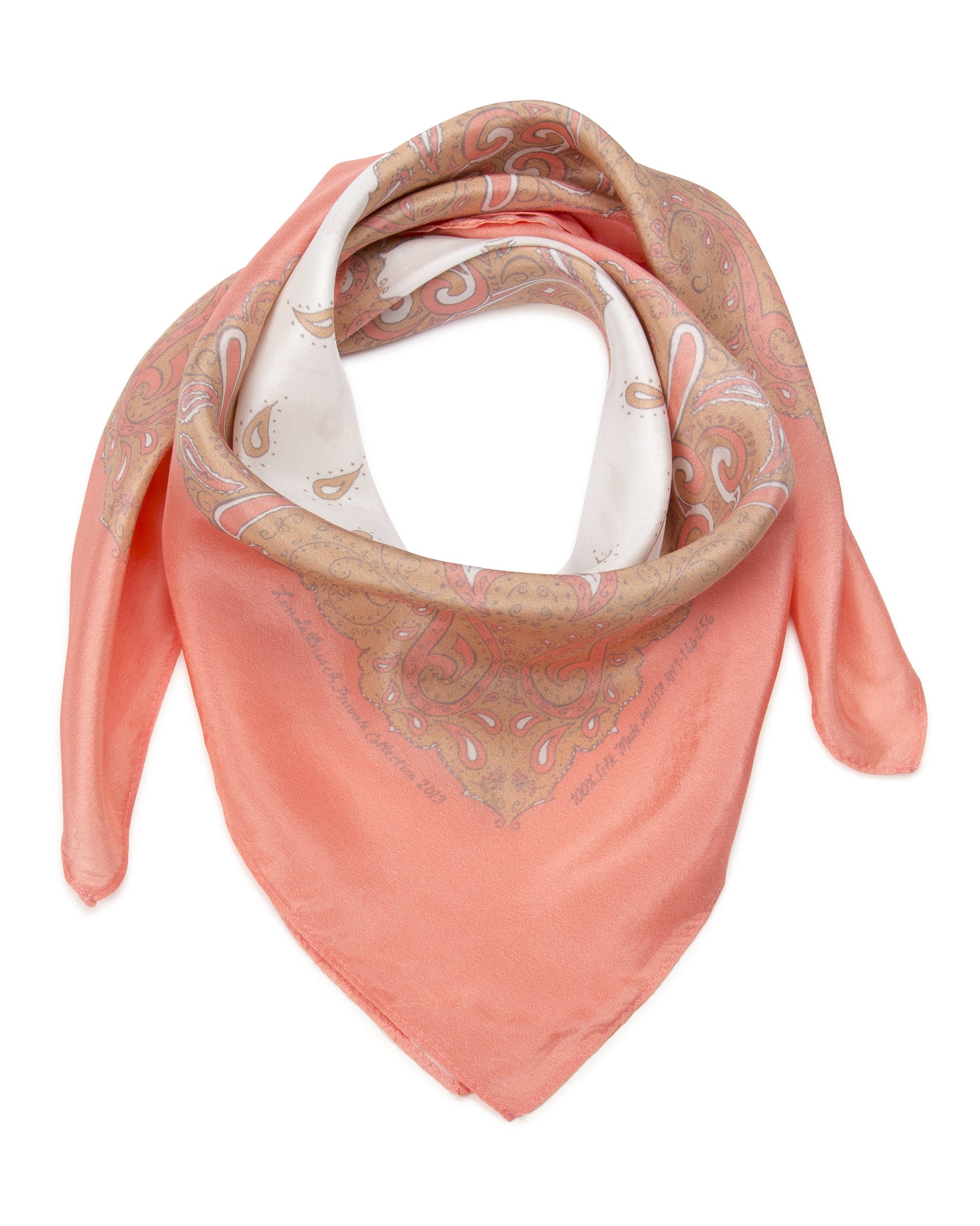 CLEARANCE SALE -Silk Bandanna in Salmon, Tan, Brown, White