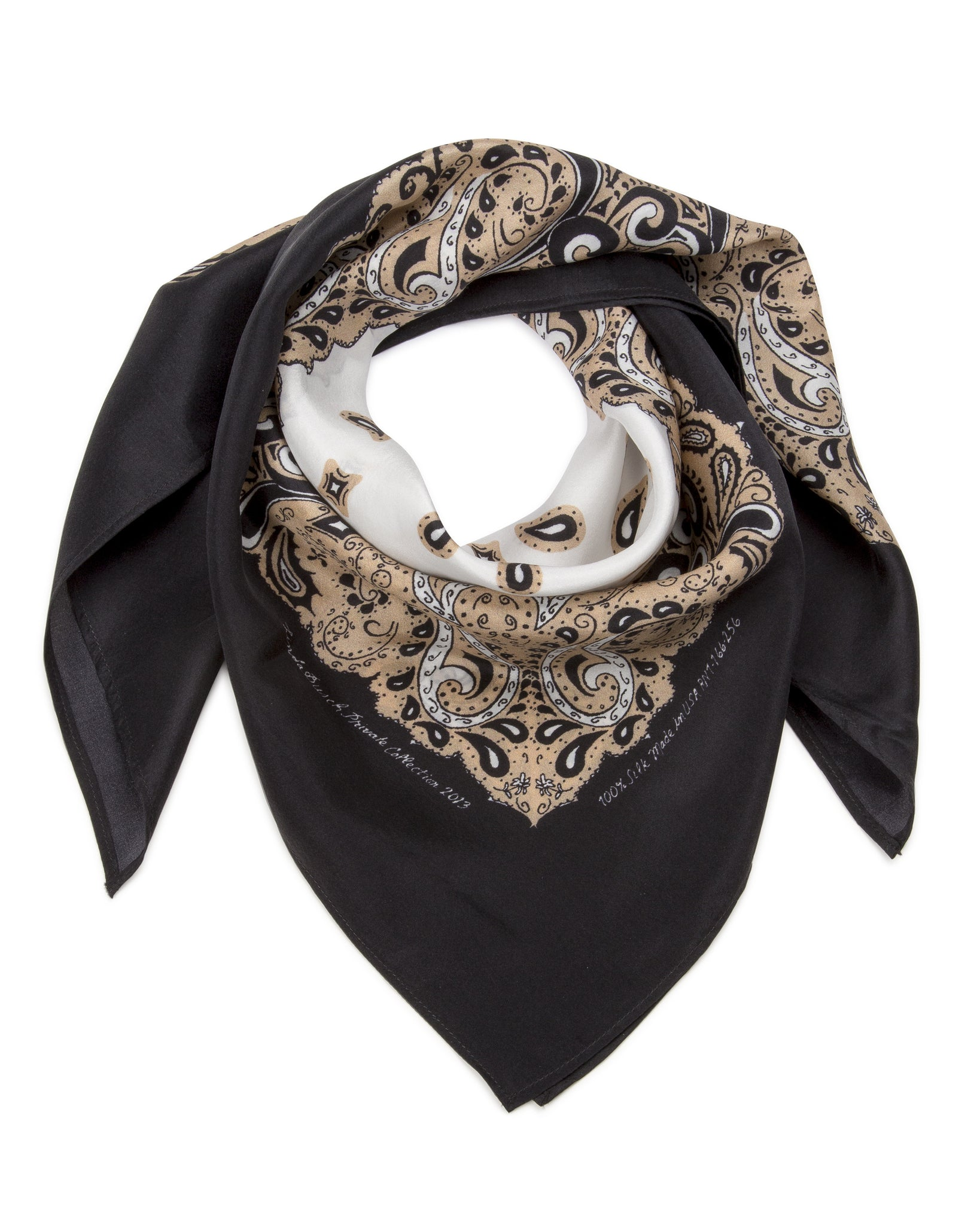 SAMPLE SALE-Silk Bandanna in Sand, Black, White
