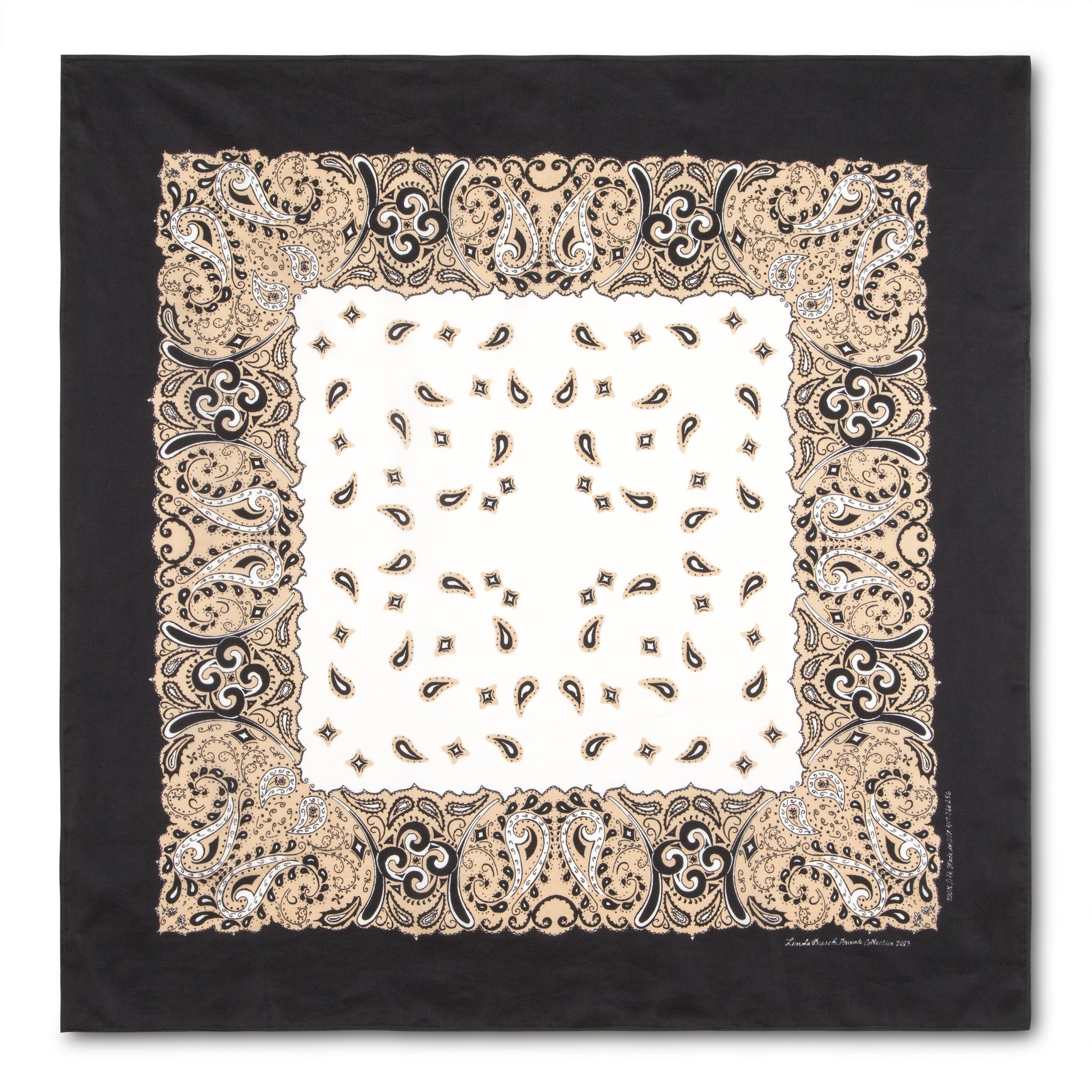 Silk Bandanna in Sand, Black, White
