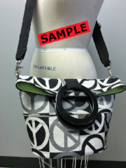 """SAMPLE"" SALE- PEACE SIGN BUCKET BAG B-2"