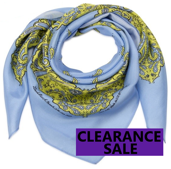 CLEARANCE SALE-Silk Bandanna in Cornflower Blue, Sulfur Spring, Black and White
