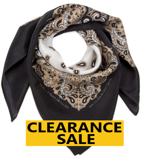 CLEARANCE SALE-Silk Bandanna in Sand, Black, White