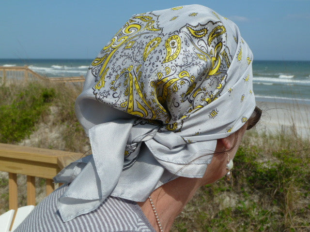 CLEARANCE SALE-Silk Bandanna in Grey, Yellow, Black, White
