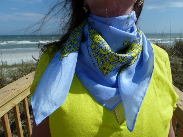 Silk Bandanna in Cornflower Blue, Sulfur Spring, Black and White