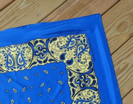 Silk Bandanna in Royal Blue, Yellow, Black