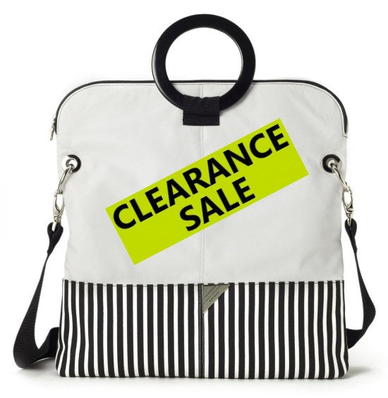 """CLEARANCE SALE"" -WHITE LEATHER AND STRIPE CANVAS TOTE"
