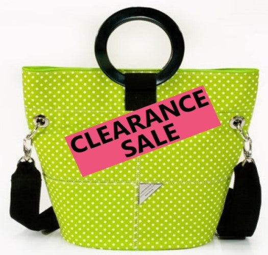 CLEARANCE SALE-Lime Green and White Dot Bucket Bag