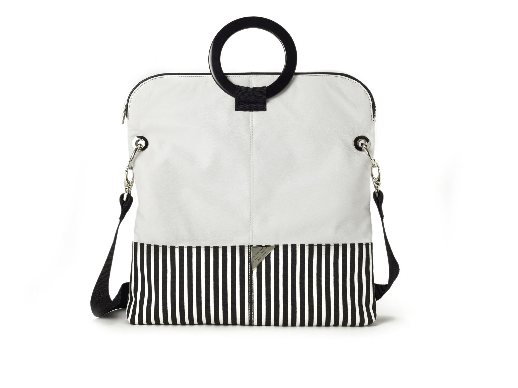"""SAMPLE SALE"" -WHITE LEATHER AND STRIPE CANVAS TOTE"