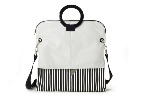 WHITE LEATHER AND STRIPE CANVAS TOTE