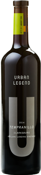 2014 Urban Legend  Holland Landing Vineyard Termpranillo Clarksburg California