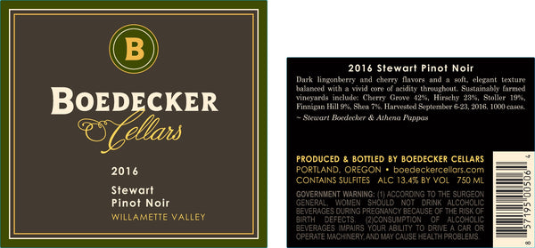 2016 Boedecker Cellars Stewart Pinot Noir Pinot Noir Willamette Valley Oregon