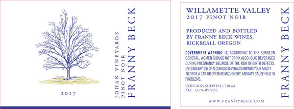 2016 Franny Beck Johan Vineyard Pinot Noir Willamette Valley Oregon