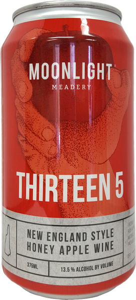 N/a Moonlight Meadery LLC Thirteen Five Barrel aged American Oak Rye Whiskey, New England Style Honey Apple Wine New England NH