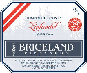 2014 Briceland Vineyards Zinfandel Ishi Pishi Ranch
