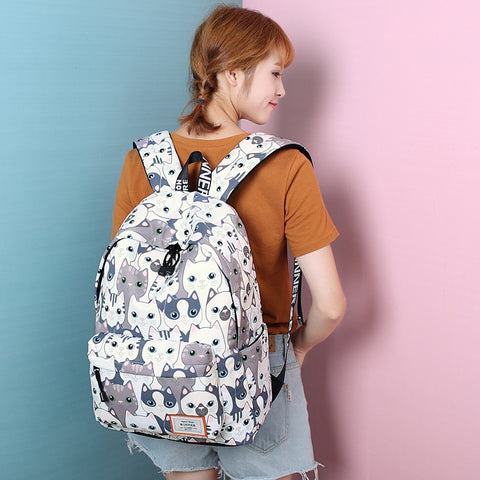 CUTE CAT CROWD PRINTED BACKPACK