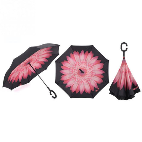 Image of WINDPROOF REVERSE FOLDING DOUBLE LAYER INVERTED UMBRELLA