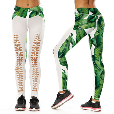 SKULL PRINTED HOLLOW YOGA LEGGINGS