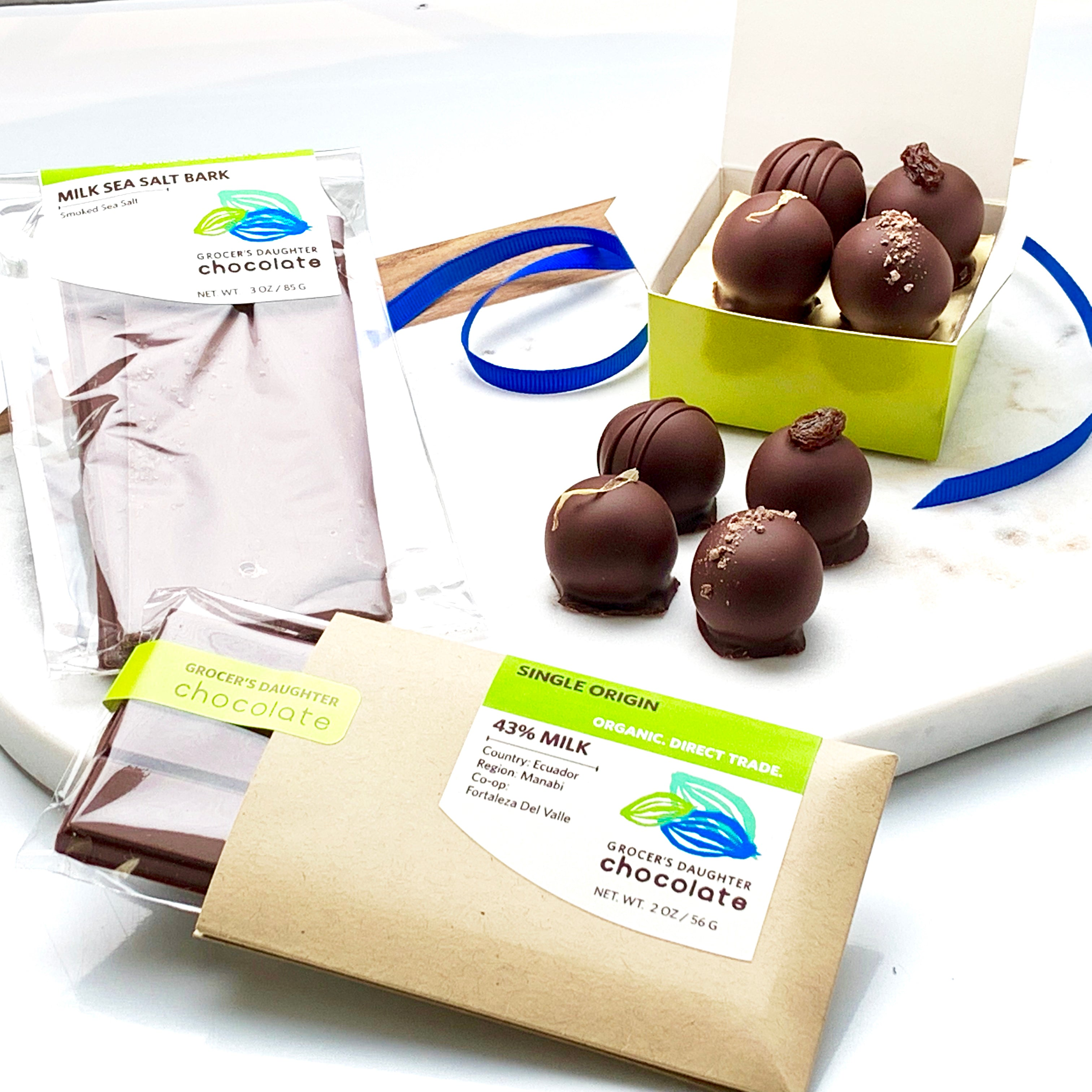 Mother's Day Gift Basket | 4 Piece Truffles, Bark, Bar - Grocer's Daughter Chocolate