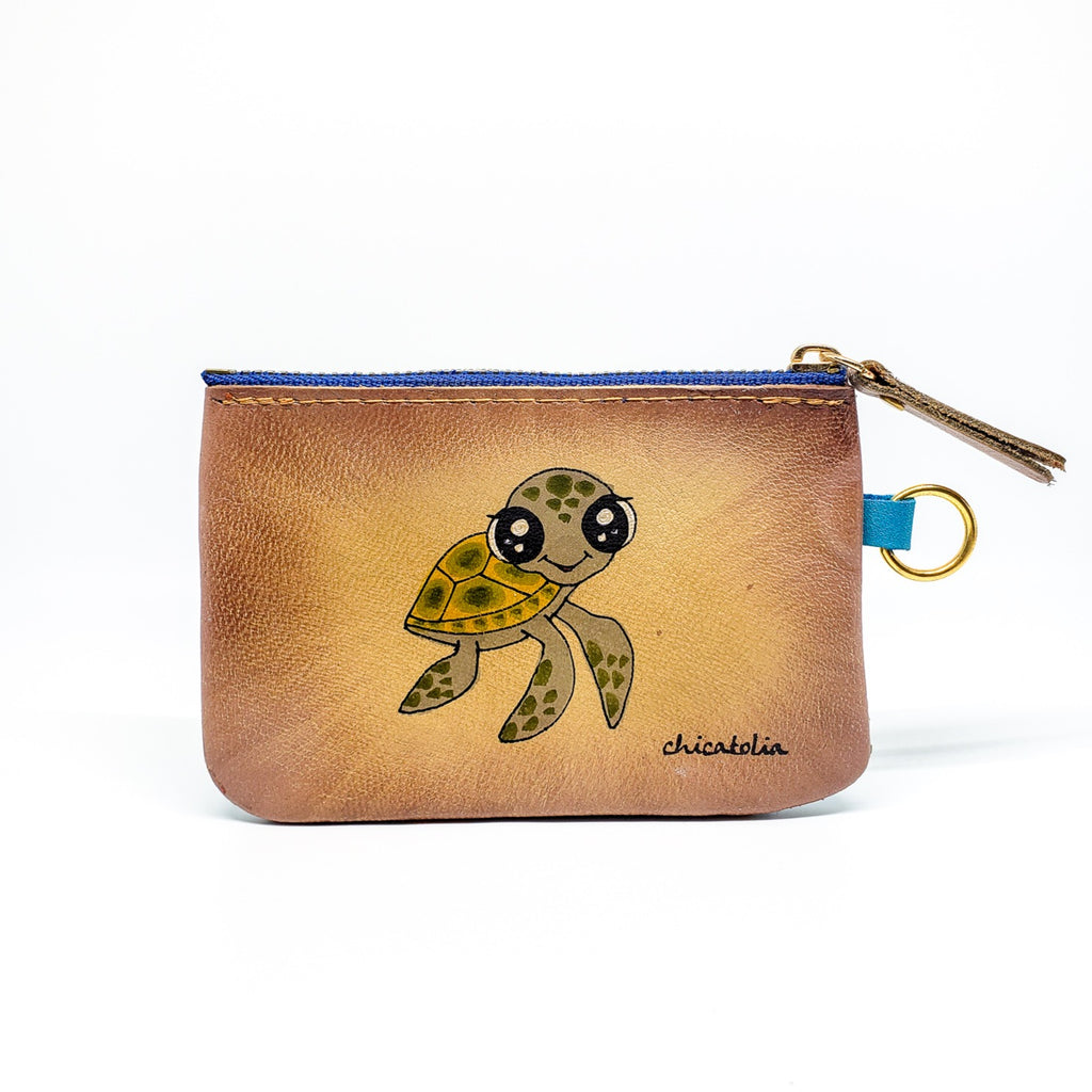 Turtle Hand Painted Wallet 100% Handmade - Chicatolia