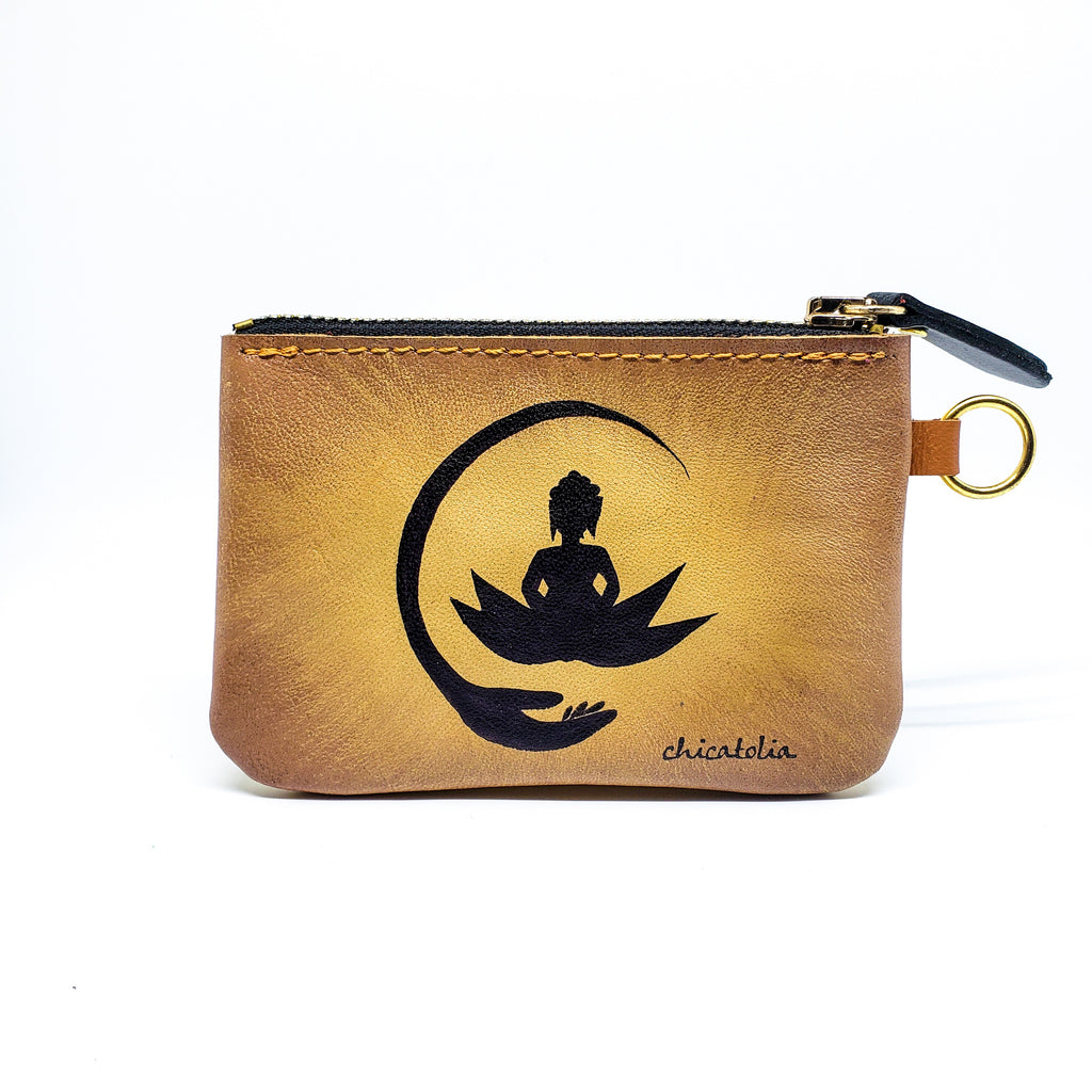 Buddha Sitting on Lotus Hand Painted Wallet 100% Handmade - Chicatolia