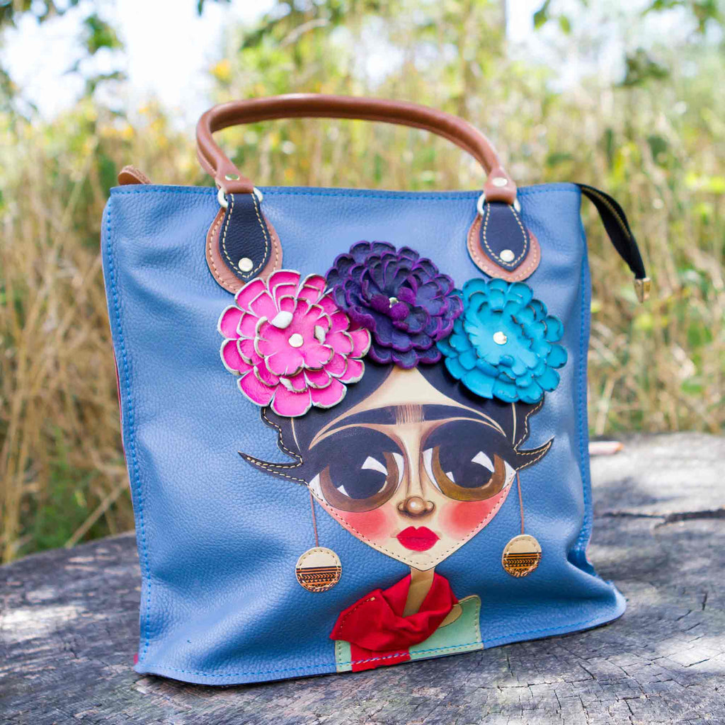 Genuine Leather Hand-Painted Frida Design Shoulder Bag chicatolia.myshopify.comChicatolia