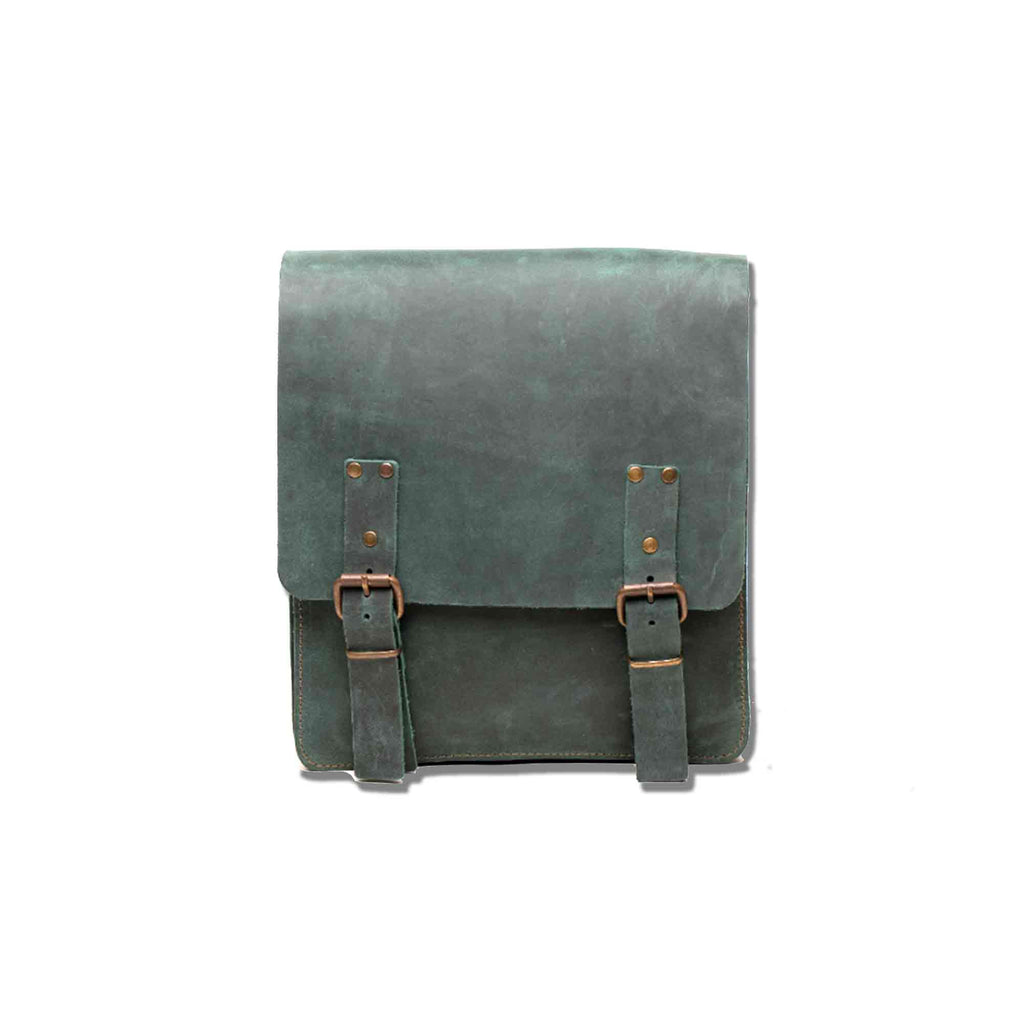 Green Leather Backpack - Chicatolia