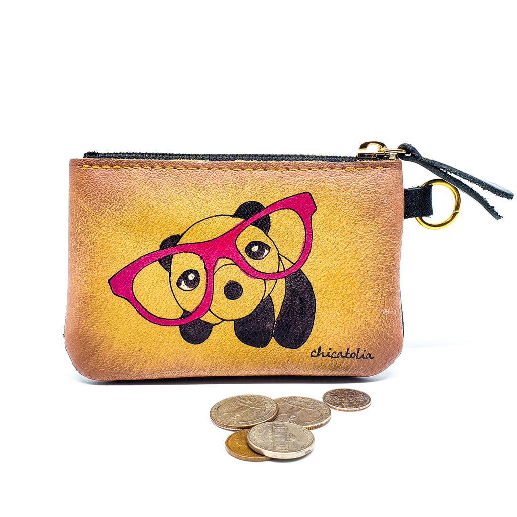 Panda with Glasses Hand Painted Wallet  100% Handmade - Chicatolia