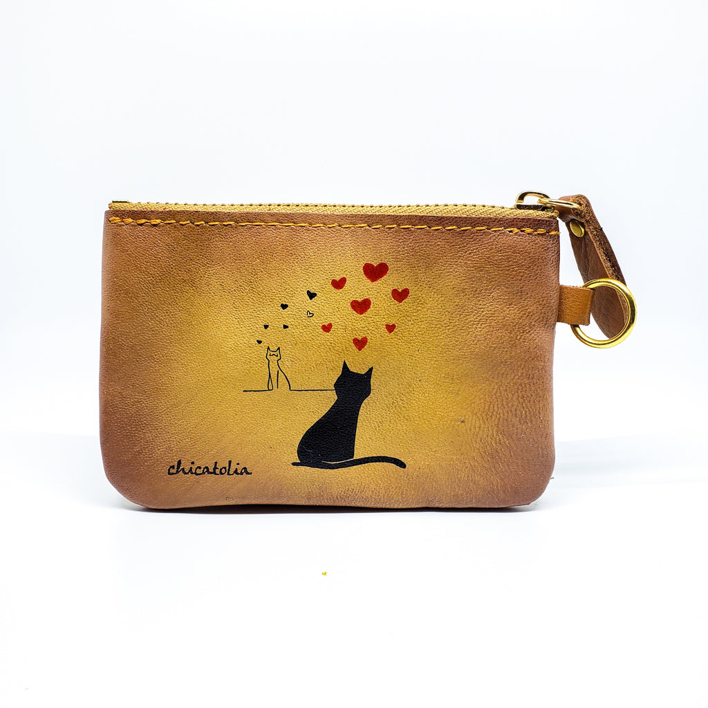 Cats Love Hand Painted Wallet 100% Handmade - Chicatolia