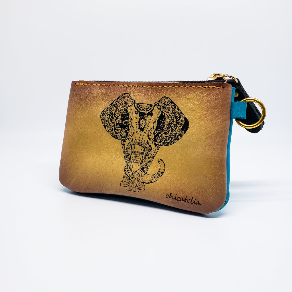 Elephant Hand Painted Wallet Ethnic Design 100% Handmade - Chicatolia