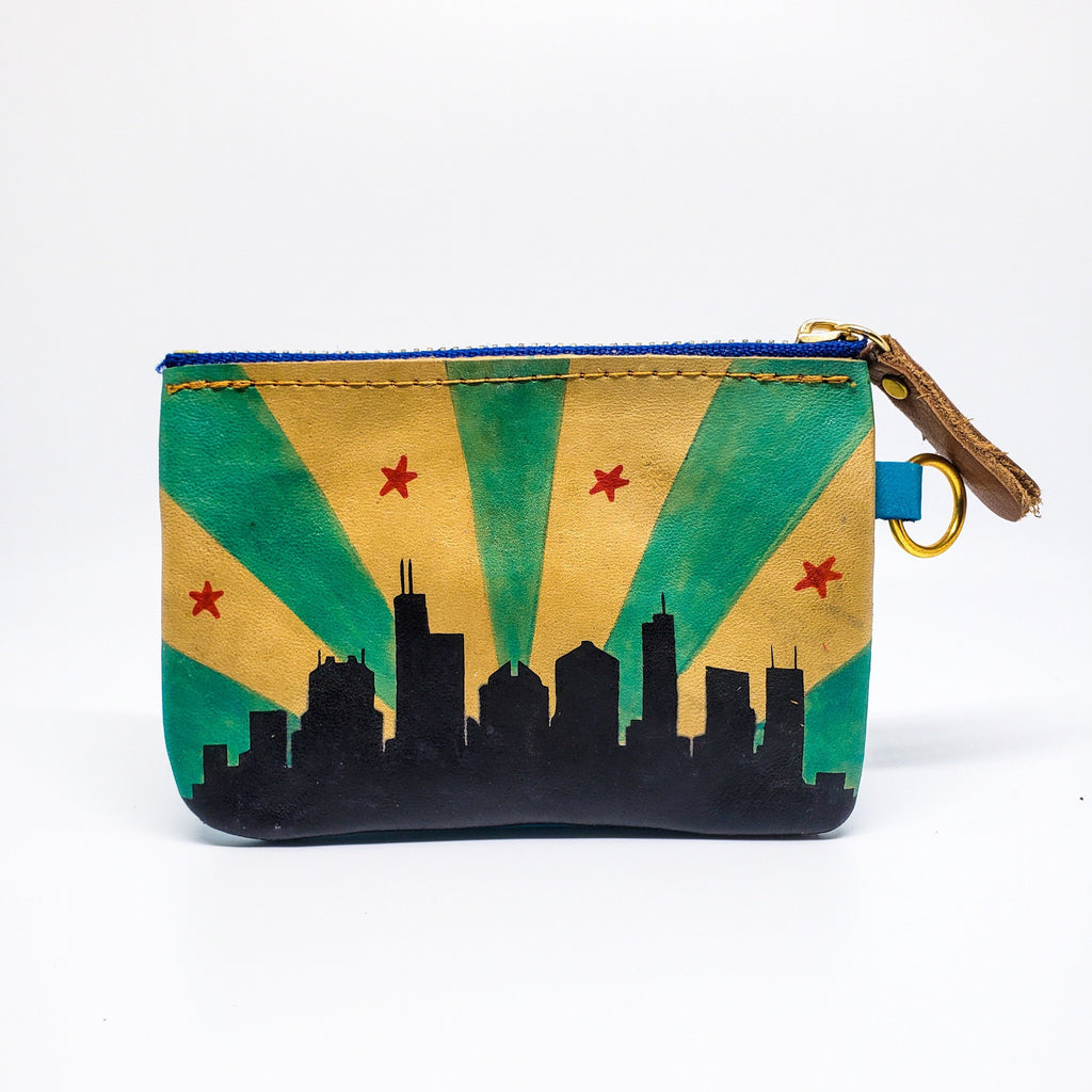Chicago Skyline Hand Painted Wallet 100% Handmade - Chicatolia