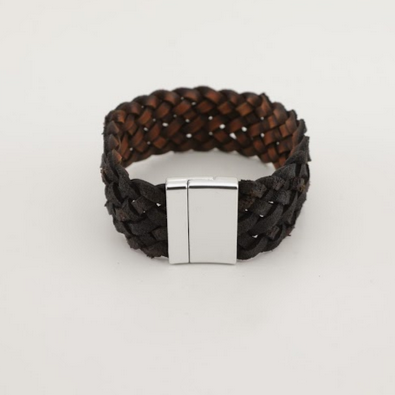 Stainless Steel Black Braided Leather Bracelet -Unisex-100% High Quality Genuine Leather-Waterproof - Chicatolia