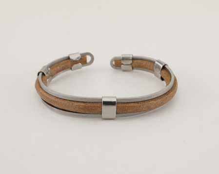 Stainless Steel Fawn Leather Bracelet - Unisex - 100% High Quality Genuine Leather-Waterproof - Chicatolia