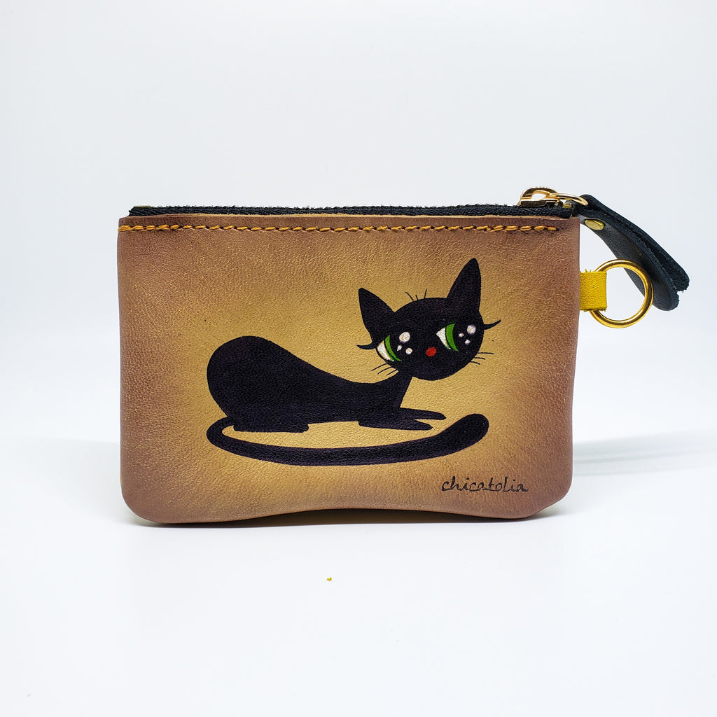 Black Cat Hand Painted Wallet 100% Handmade - Chicatolia