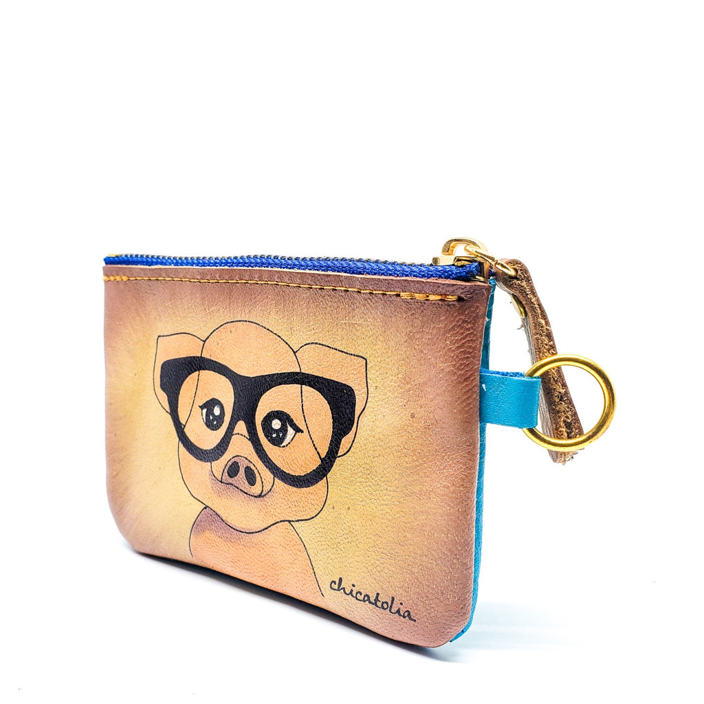 Piggy with Glasses Hand Painted Wallet 100% Handmade - Chicatolia