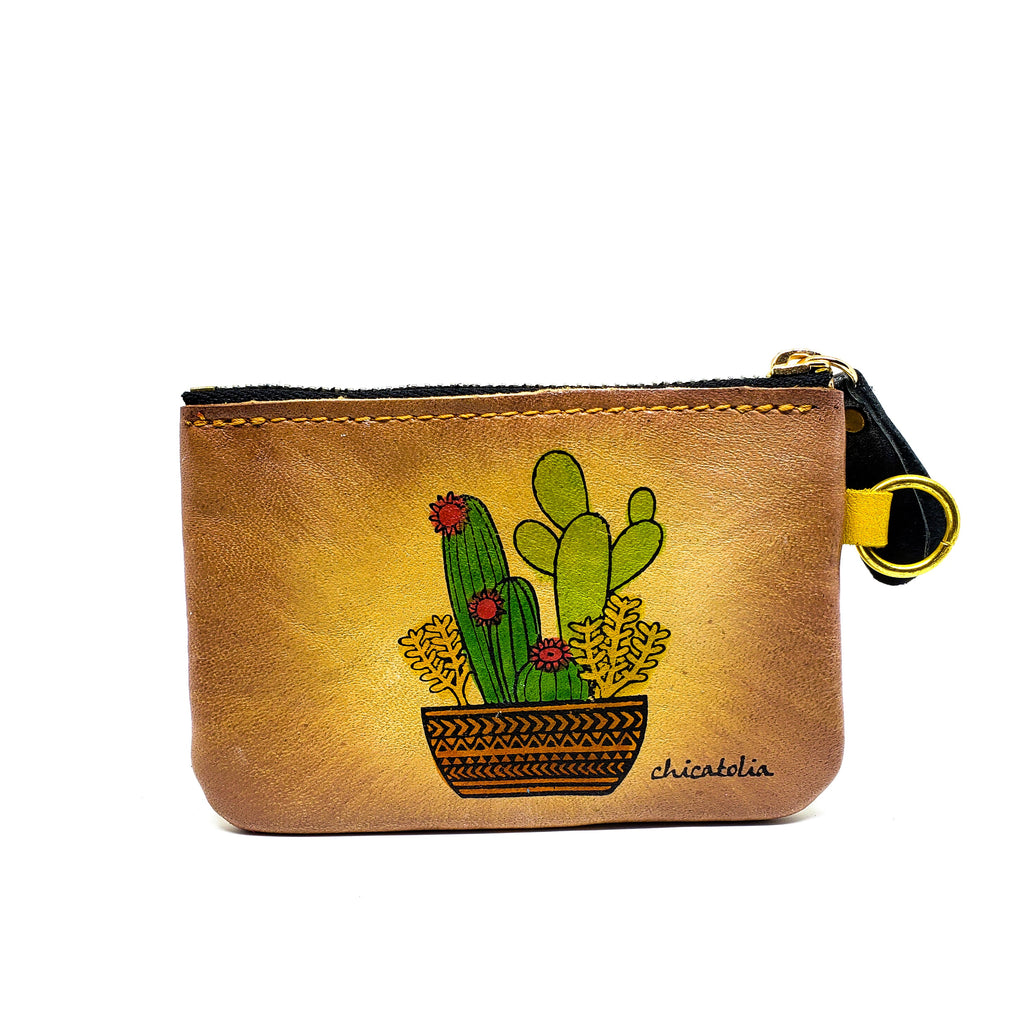 Cactus Hand Painted Wallet 100% Handmade - Chicatolia