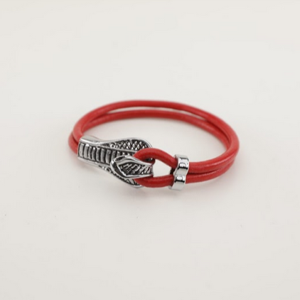 Stainless Steel Snake Leather Bracelet - Unisex - 100% High Quality Genuine Leather- Waterproof - Chicatolia