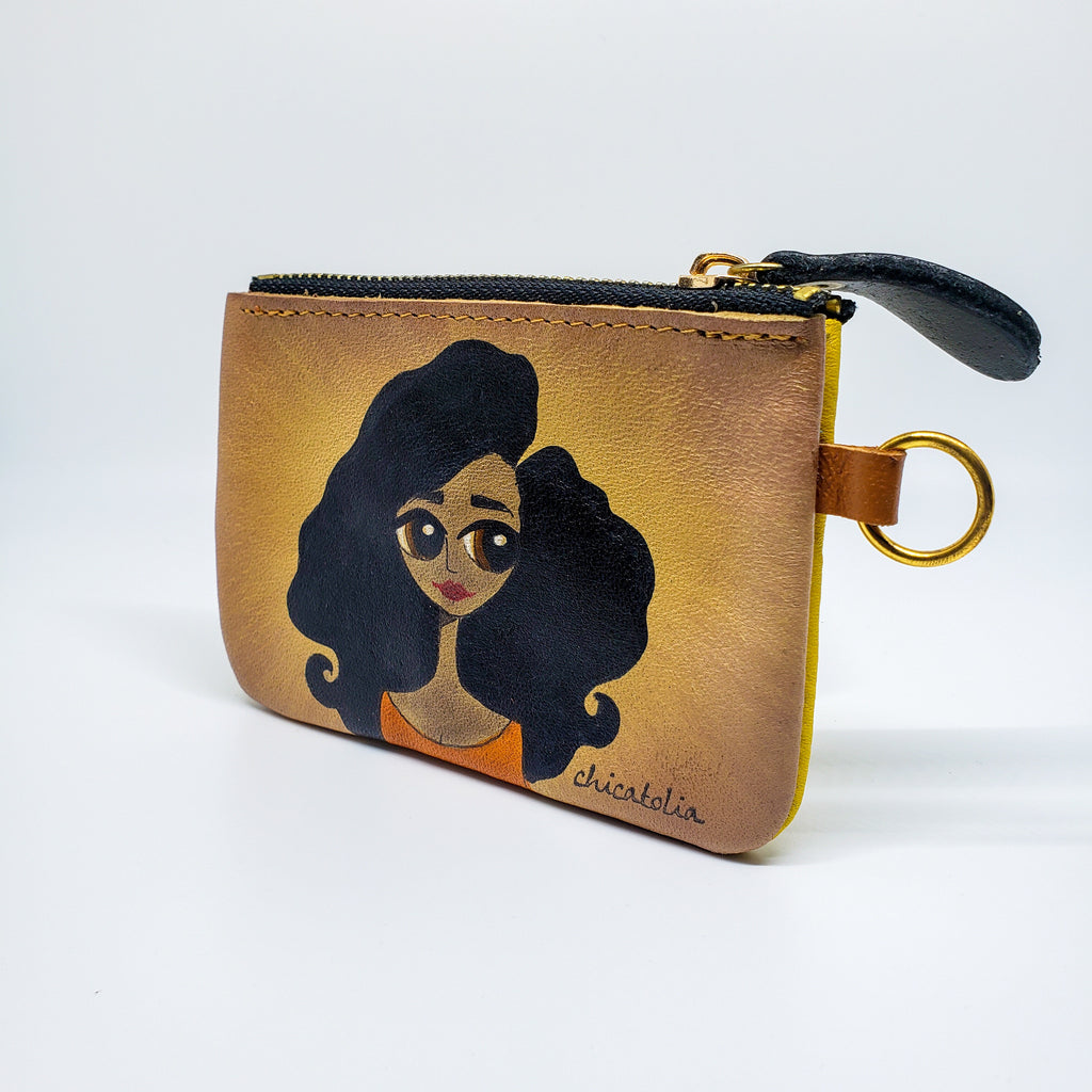 Black Long Hair Hand Painted Wallet 100% Handmade - Chicatolia