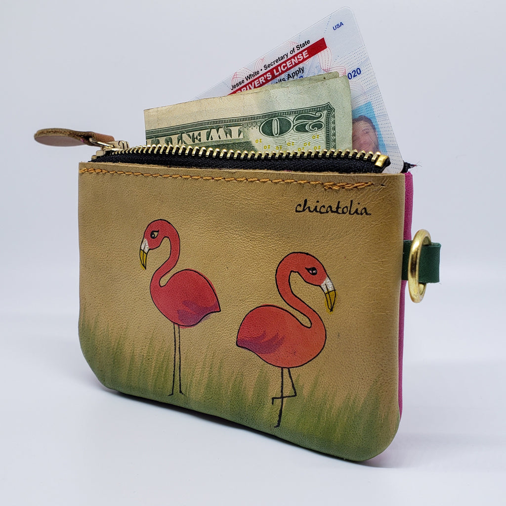 Flamingos Hand Painted Wallet 100% Handmade - Chicatolia