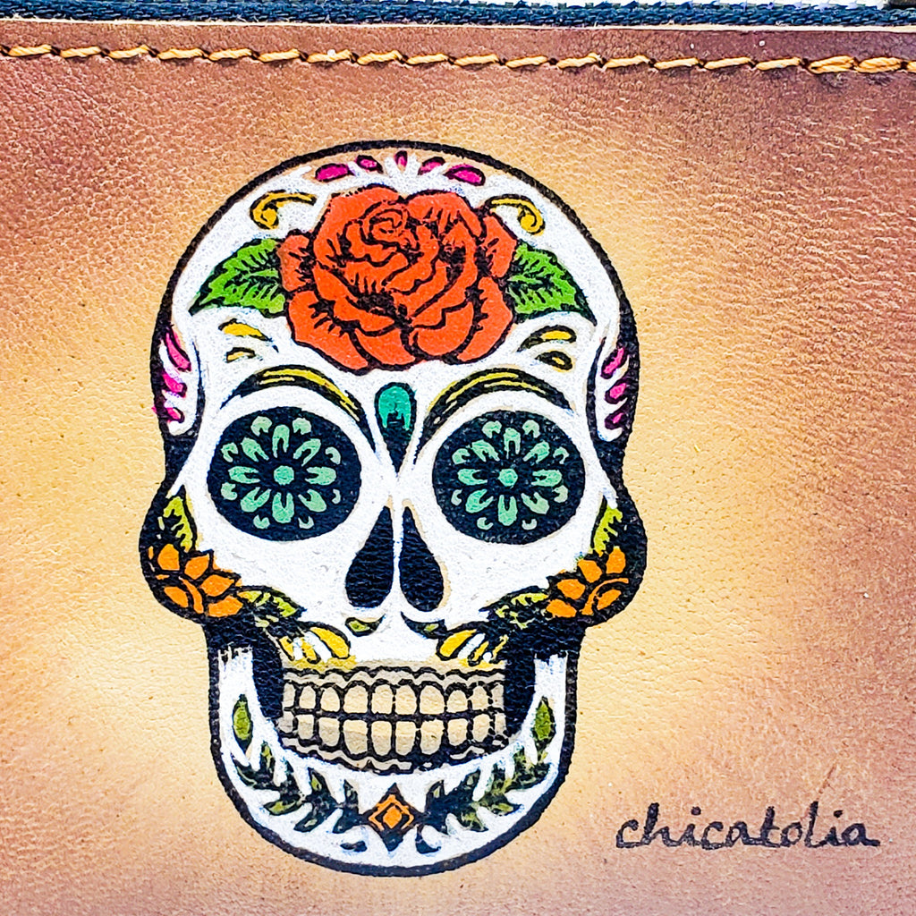 Skull Sugar Hand Painted Wallet 100% Handmade - Chicatolia